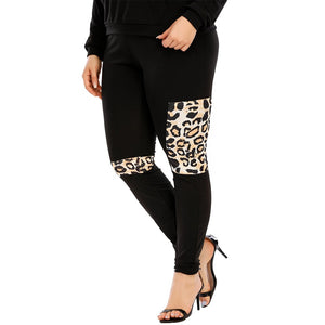 **NEW** Plus Size Women's Black with Leopard Print Sports Hooded Tracksuit
