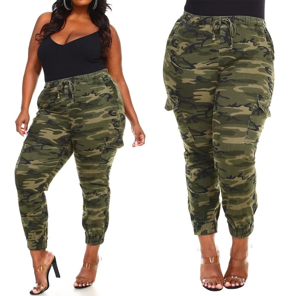 **NEW** Plus Size Women's Camouflage Drawstring Pants