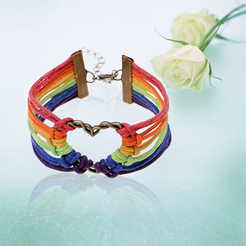 **NEW** FASHION Rainbow Heart Charm Braided Bracelet