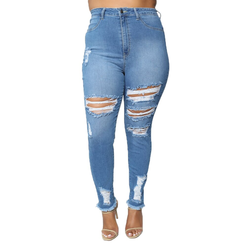 **NEW** Plus Size Woman's High Waist Stretch Distressed Cutout Jeans