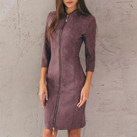 Polly Zipper Suede Dress