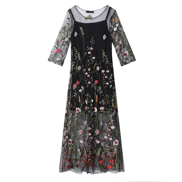 Suzanne Embroidery Mesh Dress