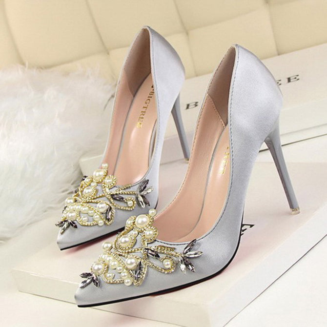Alyssa Crystal Satin Stiletto