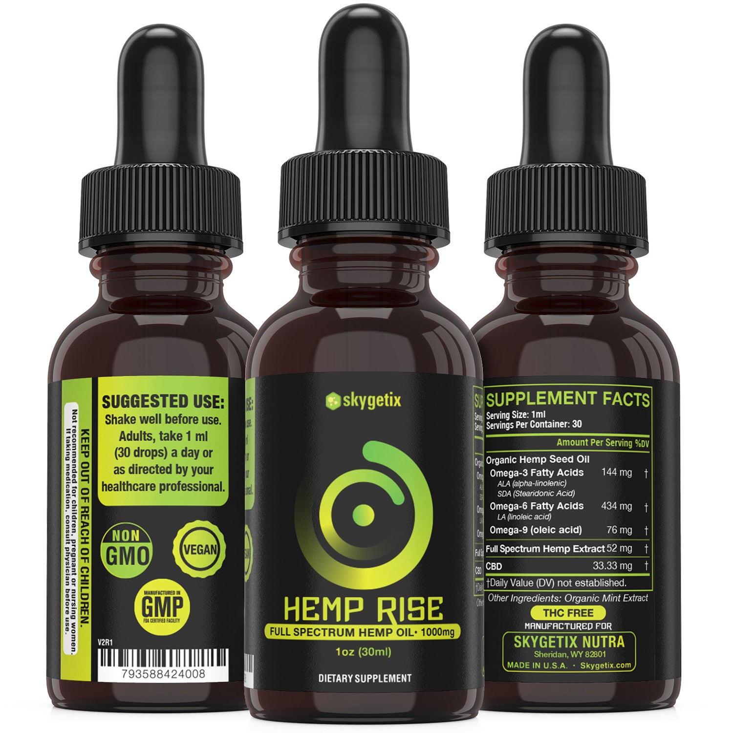 Premium Organic Full Spectrum Hemp Extract Drops 1000mg - Skygetix Nutra