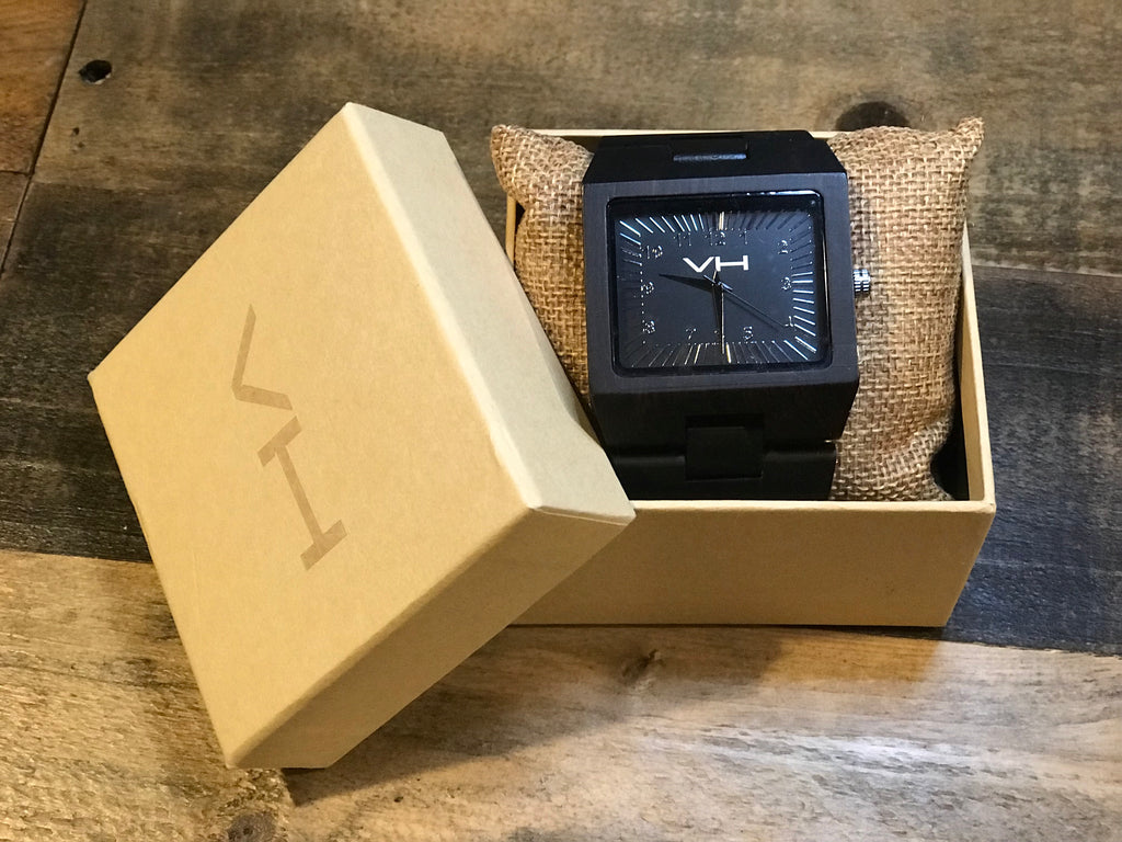 Square Ebony Wood Watch