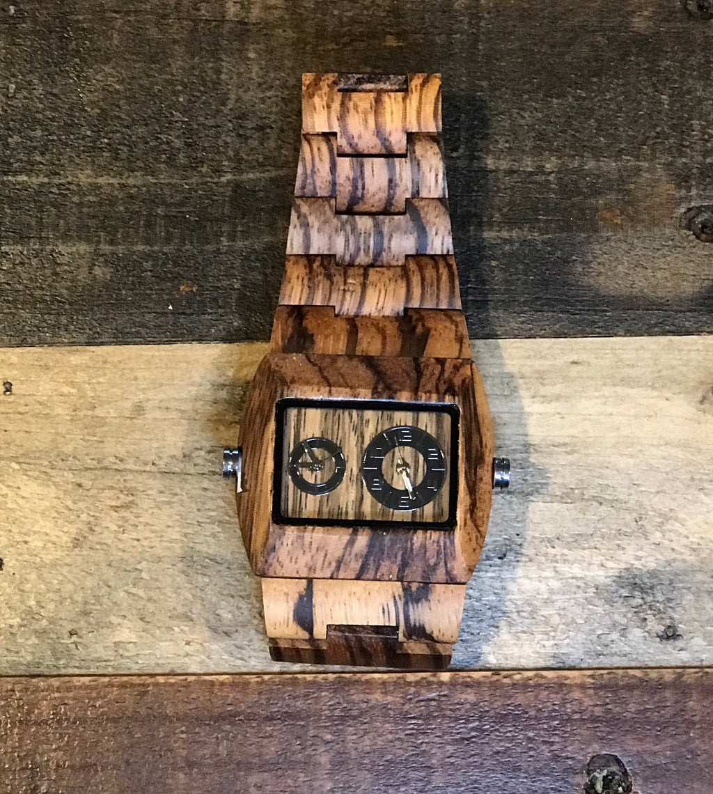 Rectangle Zebra Wood Watch