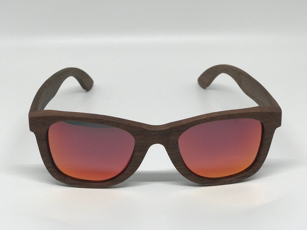 Dark Walnut Wood Sunglasses with Red Mirrored Lenses