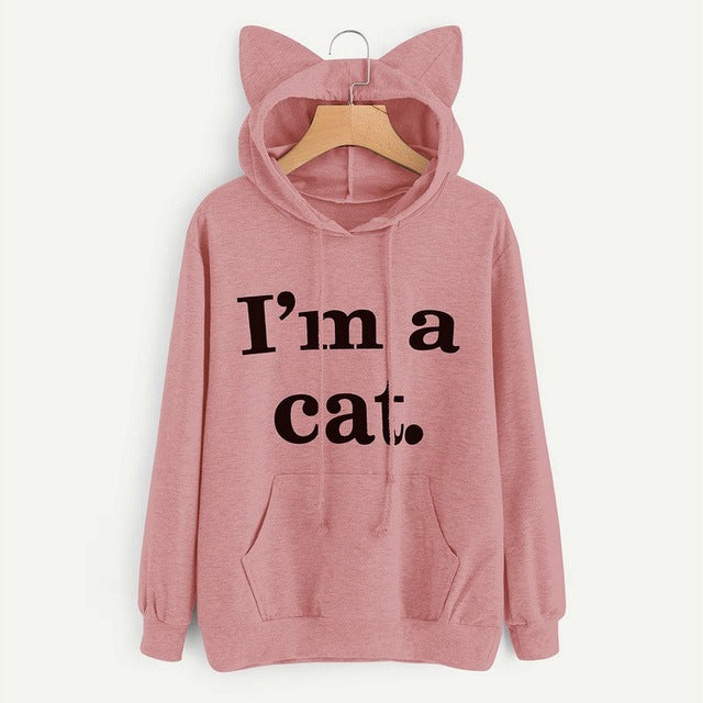 LASPERAL 2018 Women Casual Hoodies Sweatshirt Long Sleeve Hoody Cat Ear
