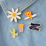 Cartoon Cactus Pizza Flower French Fries Brooch 5pcs/set