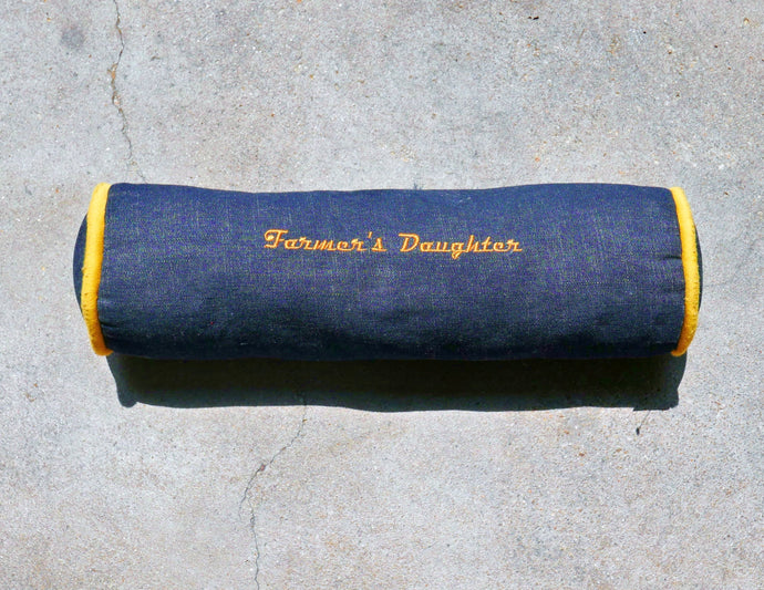 Farmer's Daughter - Round Demin Bolster Pillow