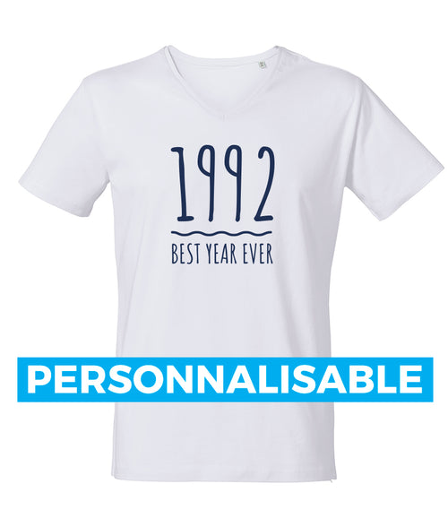 "Tee-shirt ajusté col V ""Best year ever"" blanc ou gris personnalisable"