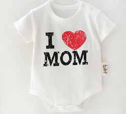 I Love Mom ( White with Red Heart ) - Romper