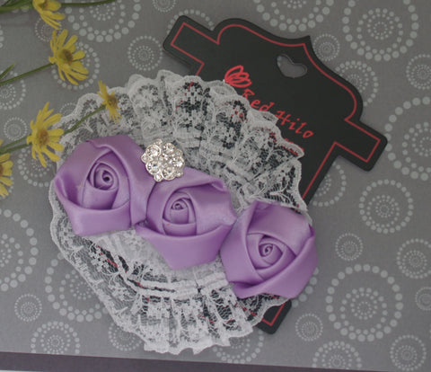 Fancy Soft Lace baby headband with three flower buds and jewel