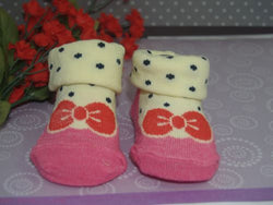 Yellow Pink Polka Dot baby booties