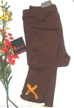 Brown Legging with Lace and Bow