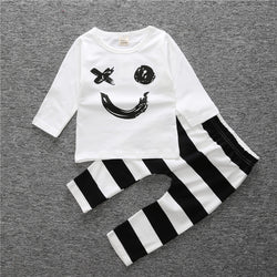Smiley face  and striped pant - 2 piece set