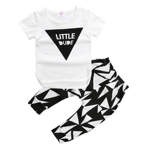 Little Dude top and striped pant - 2 piece set