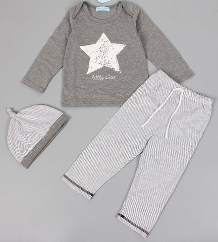 3 piece Gray stripe and Star baby set
