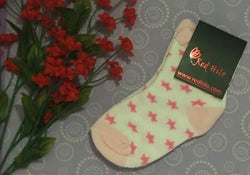 White Socks with Pink Stars for Girls
