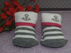 Gray-White-Pink Stripe Anchor baby booties