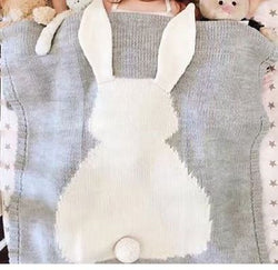 Knit Blanket with Bunny - Gray