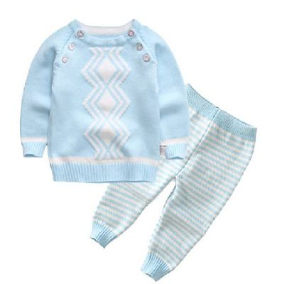Knitted Set - 2 piece - Zig-Zag & Stripes - Blue