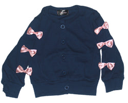 Blue cardigan with pink bow design