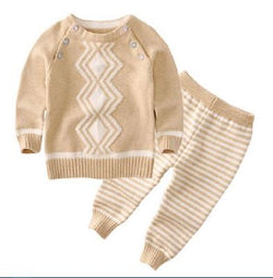 Knitted Set - 2 piece - Zig-Zag & Stripes - Brown