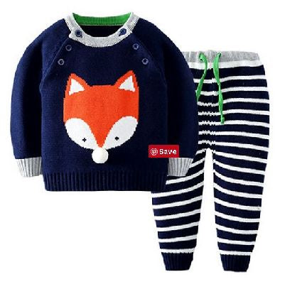 Knitted Set - 2 piece - Orange Fox & Stripes - Blue