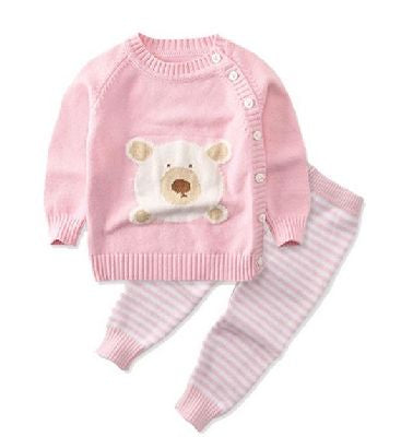 Knitted Set - 2 piece - Pink Bear & Stripe