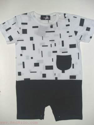 Romper - White with Black Shorts and square design