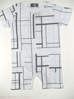 Romper - White with Black stripe design