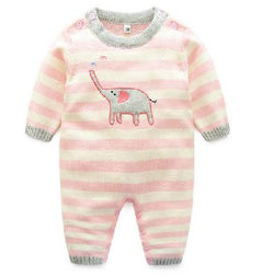 Romper - Pink Stripe with Elephant