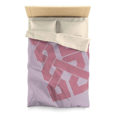 Bedding Twin / Cream Blush Duvet Cover with Cross Stitch