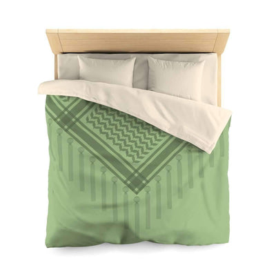 Bedding Queen / Cream Green Duvet Cover with Hatta Bedouin Scarf