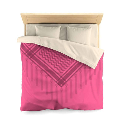 Bedding Queen / Cream Pink Scarf Duvet Cover with Hatta Bedouin Print
