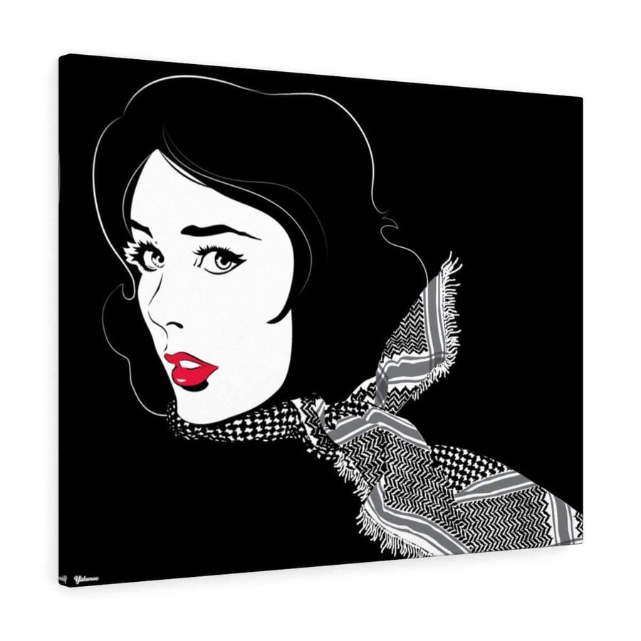 Canvas 16″ × 12″ / Premium Gallery Wraps (1.25″) Black Shemagh  Canvas Print - White