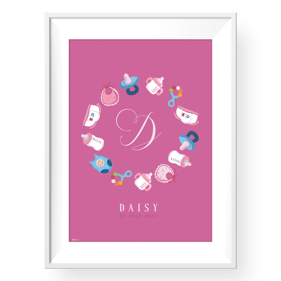 Kids & Baby Print Baby Bottles Personalized Art Print