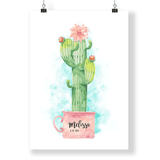 "Kids & Baby Print English / 8.5""— 11"" CG Matt Cactus Nursery Decor Personalized Art Print"