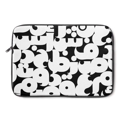 "Laptop Sleeve 13"" Arabic Alphabet Black & White Laptop Sleeve"