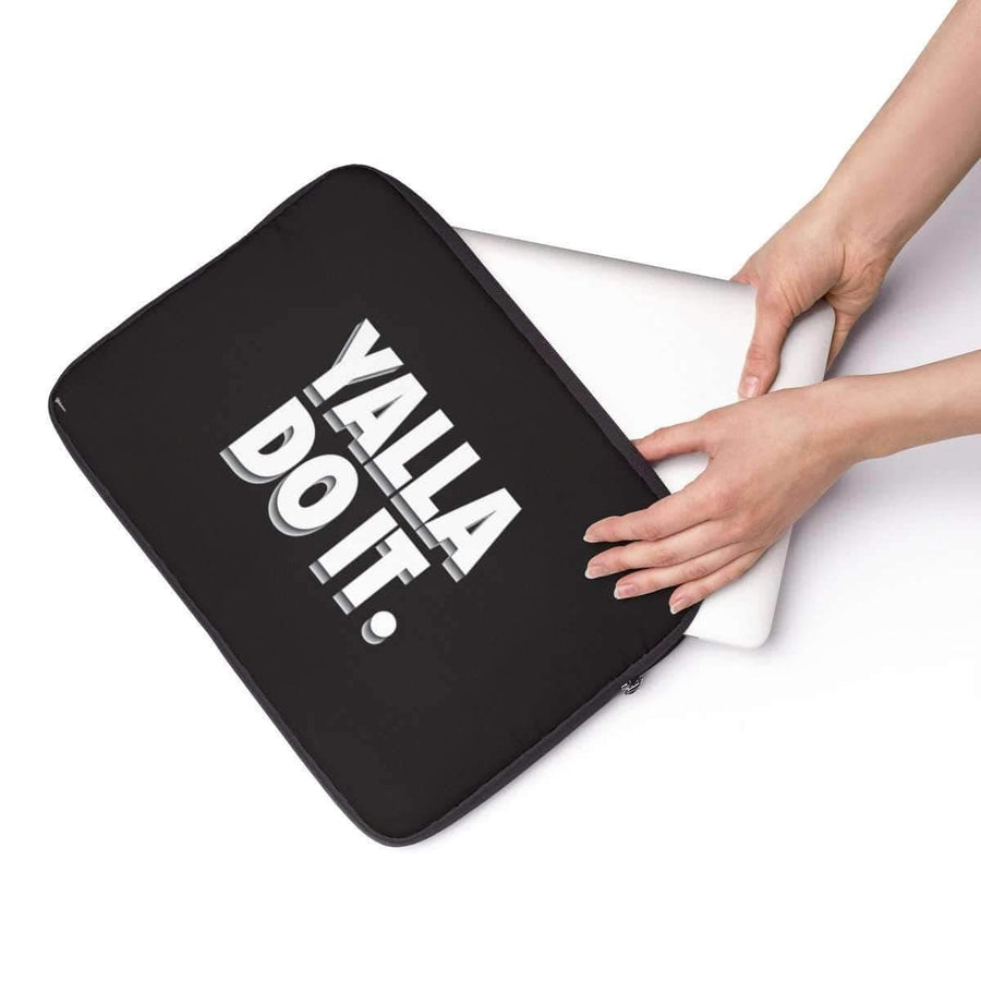 "Laptop Sleeve 13"" Yalla Do It in Black Laptop Sleeve"
