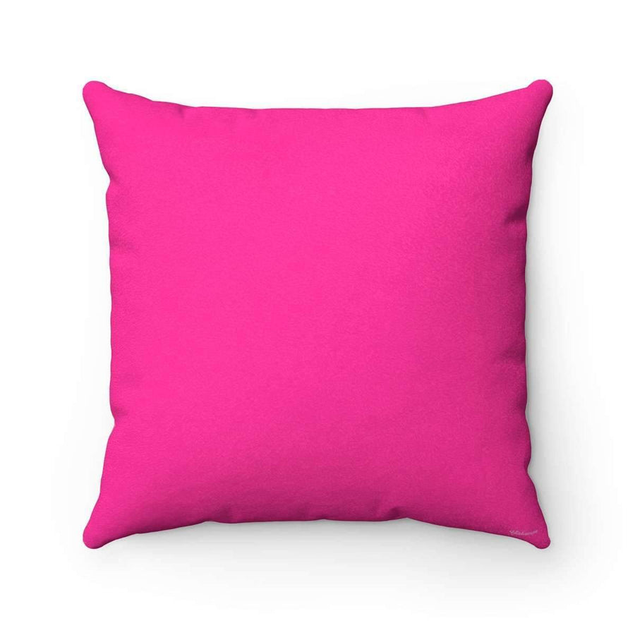 Throw Pillows 14x14 Arabic Alphabet in Pink Faux Suede Square Pillow Case