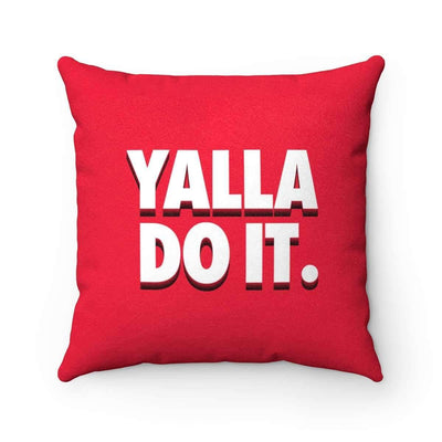 Throw Pillows 14x14 Yalla Do it Red Faux Suede Pillow Case