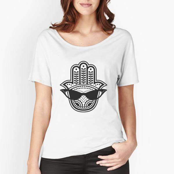 Top L / Tri-Blend Heather White Cool Eye Hamsa - Tri-Blend Top