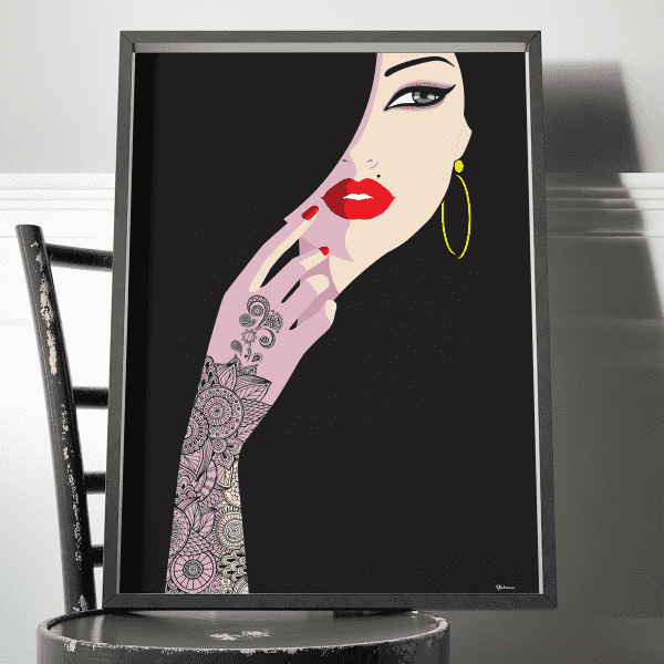 Wall Art Henna Lady Art Print