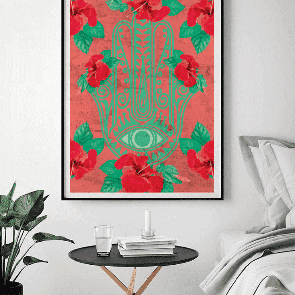 "Wall Art 12""— 18"" / CG Matt Hibiscus x Hamsa Wall Art"