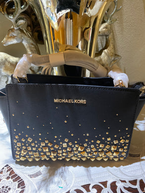 Michael Kors Black Selma Stud Leather Messenger