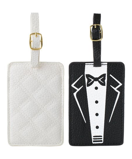 Black & White Wuilt Bride & Groom Luggage Tags