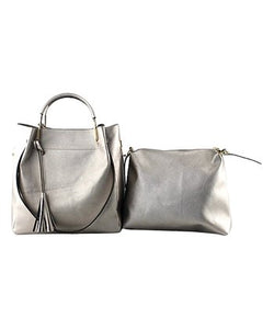 GALIAN Pewter Tassel Satchel