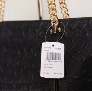 Coach Ava Embossed Chain Tote in Signature Leather